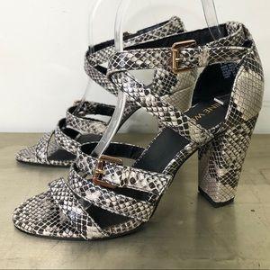 Nine West Seraphinago Snake Print Strappy Heels